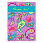 Magenta Pink Turquoise Modern Paisley Pattern Card