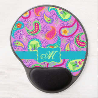 Magenta Pink Turquoise Modern Paisley Pattern Gel Mouse Pad