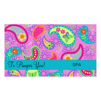 Magenta Pink Turquoise Modern Paisley Pattern Pack Of Standard Business Cards