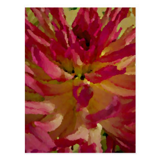 magenta, pinks, and white dahlia postcard