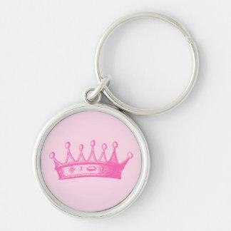 Magenta Princess Crown on Pink Background Key Ring