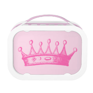 Magenta Princess Crown on Pink Background Lunch Box