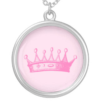 Magenta Princess Crown on Pink Background Silver Plated Necklace