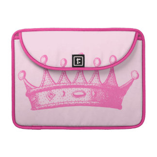 Magenta Princess Crown on Pink Background Sleeve For MacBooks