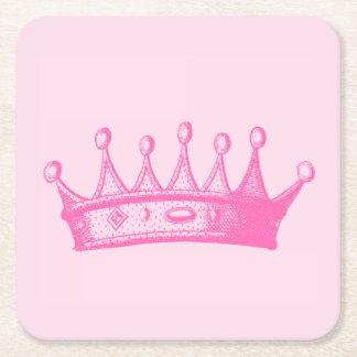 Magenta Princess Crown on Pink Background Square Paper Coaster