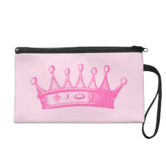Magenta Princess Crown on Pink Background Wristlet