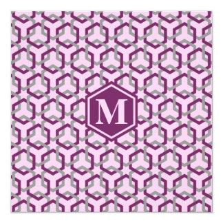 Magenta Purple and Gray Hexes Invitation