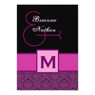 Magenta Purple Black Monogram Damask Template Custom Announcement