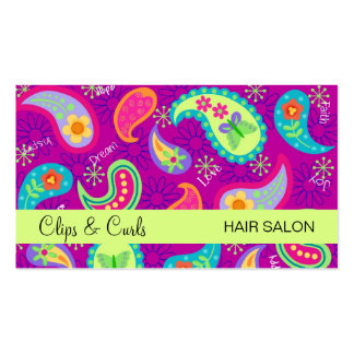 Magenta Purple Lime Green Modern Paisley Pattern Pack Of Standard Business Cards
