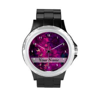 Magenta purple modern floral pattern wristwatch