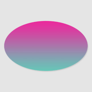 Magenta Purple & Teal Ombre Oval Sticker
