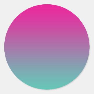 Magenta Purple & Teal Ombre Round Sticker