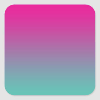 Magenta Purple & Teal Ombre Square Sticker