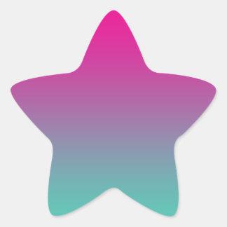 Magenta Purple & Teal Ombre Star Sticker