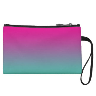 Magenta Purple & Teal Ombre Wristlet Clutches