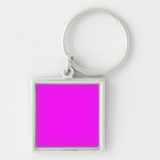 magenta purple template to personalize Customize Silver-Colored Square Keychain