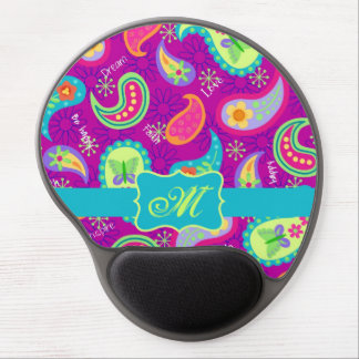 Magenta Purple Turquoise Modern Paisley Pattern Gel Mouse Pad