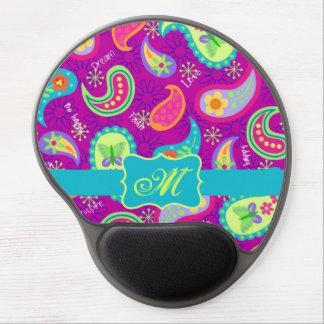 Magenta Purple Turquoise Modern Paisley Pattern Gel Mouse Pad