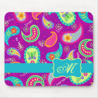 Magenta Purple Turquoise Modern Paisley Pattern Mouse Pad