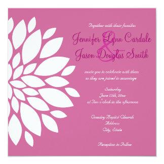 Magenta Purple White Flower Wedding Invitations