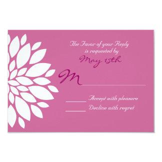 Magenta Purple White Flower Wedding RSVP Cards 9 Cm X 13 Cm Invitation Card