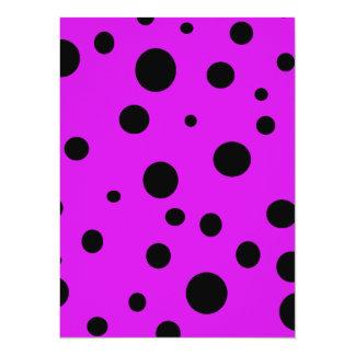 Magenta Purple with Black Polka Dots Products 14 Cm X 19 Cm Invitation Card
