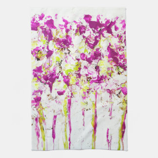 Magenta Rain Floral Tea Towel