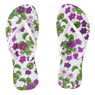Magenta Rose Pink Victorian Violets Flip Flops