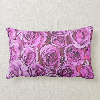 Magenta Roses Lumbar Cushion