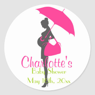 Magenta Silhouette Baby Shower Stickers