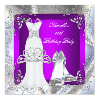 Magenta Silver White Dress High Heel Shoes Tiara 13 Cm X 13 Cm Square Invitation Card