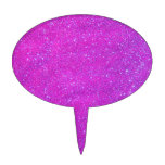 Magenta Sparkle Glitter Girly Purple Pink Holiday Cake Toppers