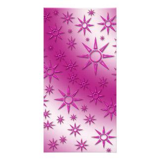 Magenta suns seamless pattern photo card template
