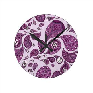 Magenta Teardrops Clock