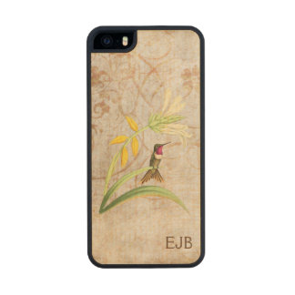 Magenta Throated Hummingbird Monogrammed Wood iPhone SE/5/5s Case