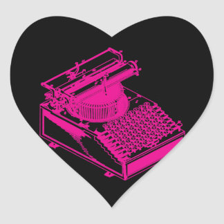 Magenta Type Writing Machine Heart Stickers