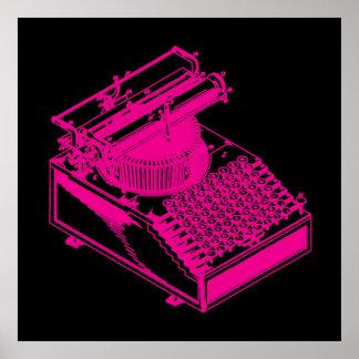 Magenta Type Writing Machine Poster