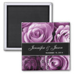 Magenta Wedding Rose Bouquet with Lace Fridge Magnets