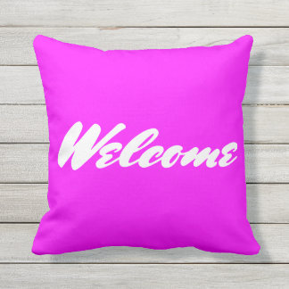 Magenta Welcome Outdoor Throw Pillow