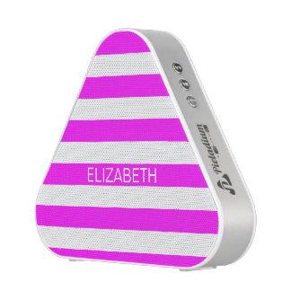 Magenta Wht Horizontal Preppy Stripe Name Monogram Speaker