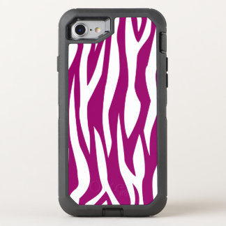 Magenta Zebra Print OtterBox Defender iPhone 8/7 Case