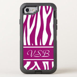 Magenta Zebra Print with monogram OtterBox Defender iPhone 8/7 Case