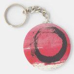 Magenta Zen Circle Basic Round Button Key Ring