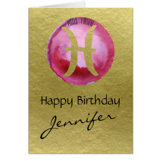 Magenta Zodiac Sign Pisces on Gold Background Card