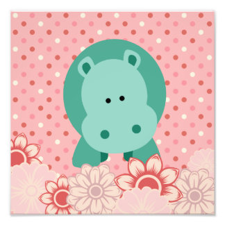 Maggie's Menagerie Nursery Prints:BubbleMint Hippo Photographic Print