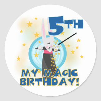 Magic 5th Birthday Tshirts and Gifts Round Sticker