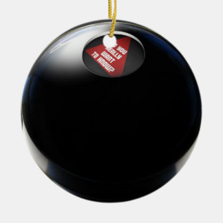 "Magic 8 Ball says, ""Do you really want to know?"" Double-Sided Ceramic Round Christmas Ornament"
