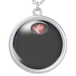 """Magic 8 Ball says, """"Do you really want to know?"""" Silver Plated Necklace"""