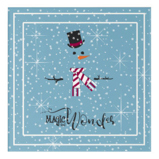 Magic and Wonder Christmas Snowman Blue ID440 Acrylic Wall Art