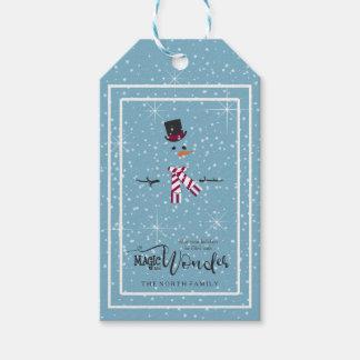Magic and Wonder Christmas Snowman Blue ID440 Gift Tags